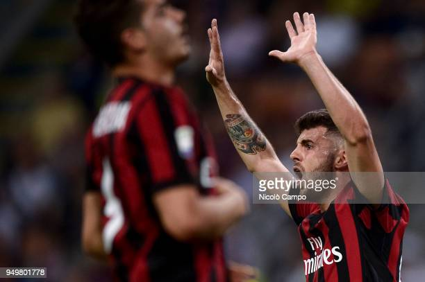 Patrick Cutrone of AC Milan reacts during the Serie A football match between AC Milan and Benevento Calcio Benevento Calcio won 10 over AC Milan
