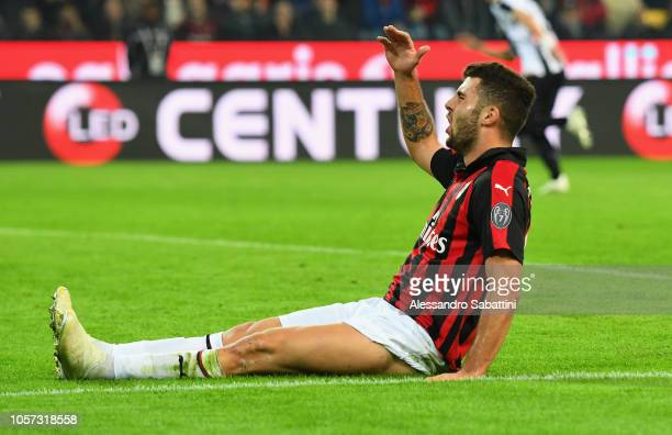 Patrick Cutrone of AC Milan reacts during the Serie A match between Udinese and AC Milan at Stadio Friuli on November 4 2018 in Udine Italy