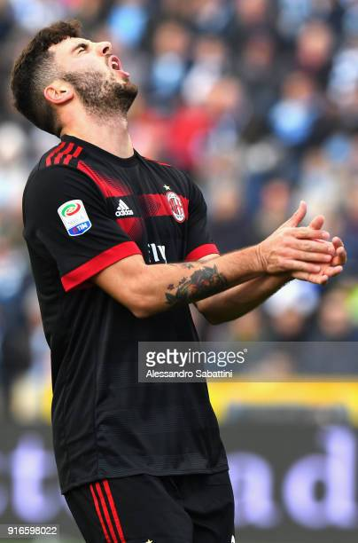 Patrick Cutrone of AC Milan reacts during the serie A match between Spal and AC Milan at Stadio Paolo Mazza on February 10 2018 in Ferrara Italy