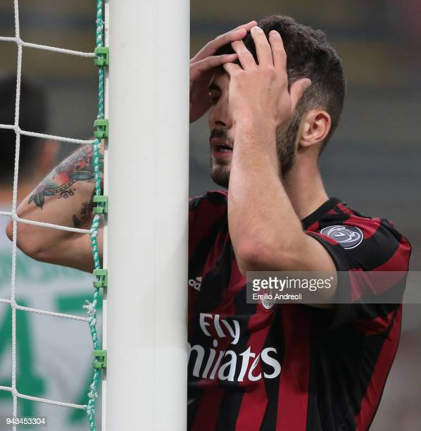 Patrick Cutrone of AC Milan reacts during the serie A match between AC Milan and US Sassuolo at Stadio Giuseppe Meazza on April 8 2018 in Milan Italy