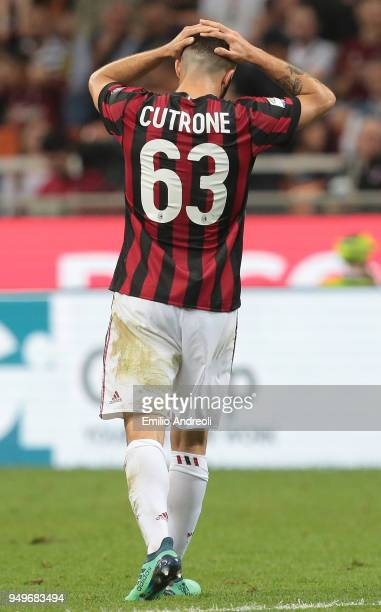 Patrick Cutrone of AC Milan reacts during the serie A match between AC Milan and Benevento Calcio at Stadio Giuseppe Meazza on April 21 2018 in Milan...