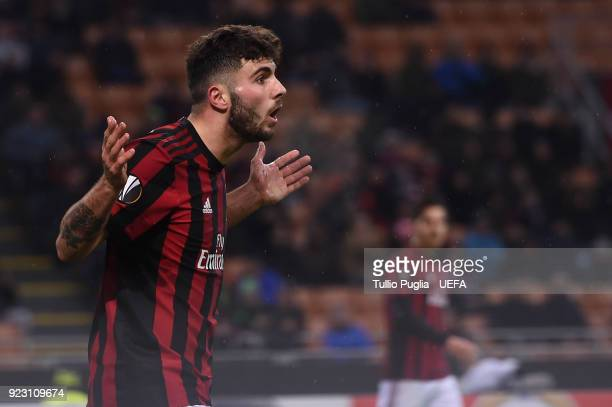 Patrick Cutrone of AC Milan reacts during UEFA Europa League Round of 32 match between AC Milan and Ludogorets Razgrad at the San Siro on February 22...