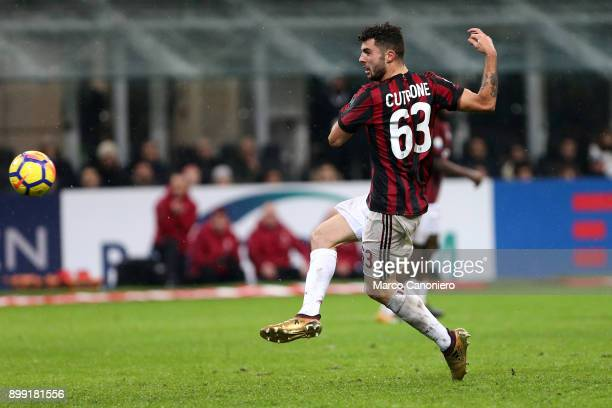 Patrick Cutrone of Ac Milan score a goal during the Tim Cup football match between AC Milan and Fc Internazionale Ac Milan wins 10 over Fc...