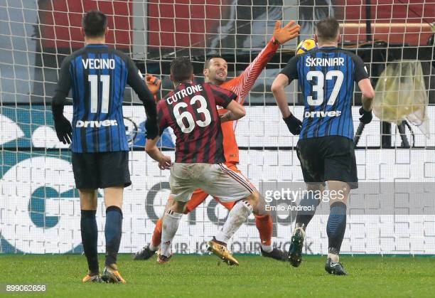 Patrick Cutrone of AC Milan scores the opening goal during the TIM Cup match between AC Milan and FC Internazionale at Stadio Giuseppe Meazza on...