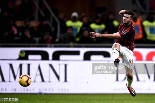 Patrick Cutrone of AC Milan shoots during the Serie A football match between AC Milan and Torino FC The match ended in a 00 tie