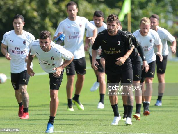 Patrick Cutrone of AC Milan trains with his teammates during the AC Milan training session at the club's training ground Milanello on July 9 2018 in...