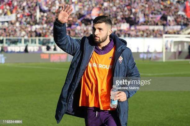 Patrick Cutrone of ACF Fiorentina reacts during the Serie A match between ACF Fiorentina and SPAL at Stadio Artemio Franchi on January 12 2020 in...