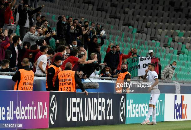 Patrick Cutrone of Italy celebrates after scoring their side's third goal during the 2021 UEFA European Under-21 Championship Quarter-finals match...
