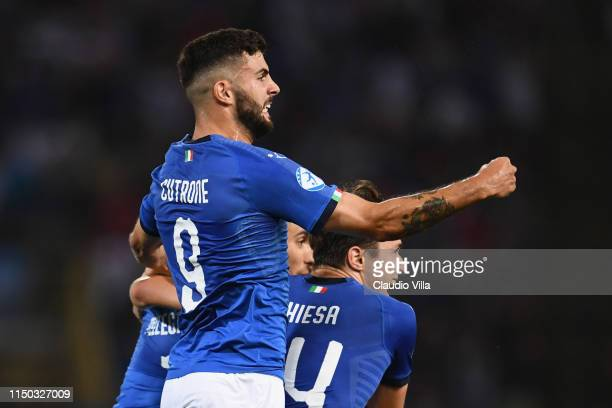 Patrick Cutrone of Italy celebrates during the 2019 UEFA U21 Group A match between Italy and Spain at Renato Dall'Ara stadium on June 16 2019 in...