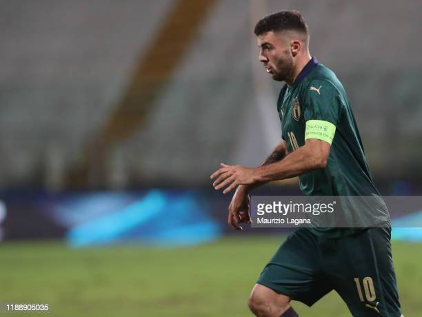 Patrick Cutrone of Italy competes for the ball with of Armenia during the UEFA U21 European Championship Qualifier match between Italy and Armenia at...