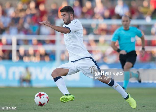 Patrick Cutrone of Italy controls the ball during the Italy v Spain Under21 Friendly match at Estadio Municipal Salta del Caballo on September 1 2017...