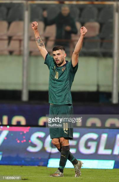 Patrick Cutrone of Italy during the UEFA U21 European Championship Qualifier match between Italy and Armenia at Stadio Angelo Massimino on November...