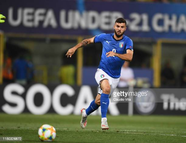 Patrick Cutrone of Italy in action during the 2019 UEFA U21 Group A match between Italy and Spain at Renato Dall'Ara stadium on June 16 2019 in...