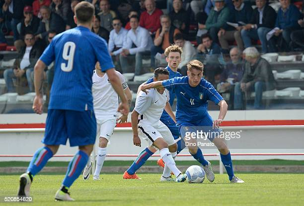 Patrick Cutrone of Italy in action during the U18 international friendly match between Italy and France at Stadio Appiani on April 13 2016 in Padova...