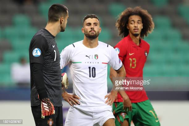 Patrick Cutrone of Italy looks on during the 2021 UEFA European Under-21 Championship Quarter-finals match between Portugal and Italy at Stadion...