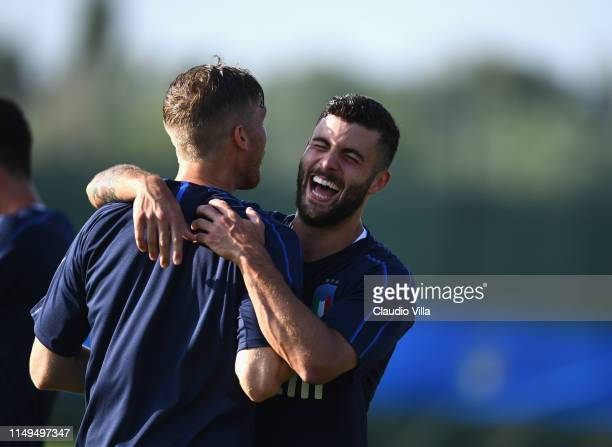 Patrick Cutrone of Italy reacts during a Italy training session at Casteldebole Training Center on June 12 2019 in Bologna Italy