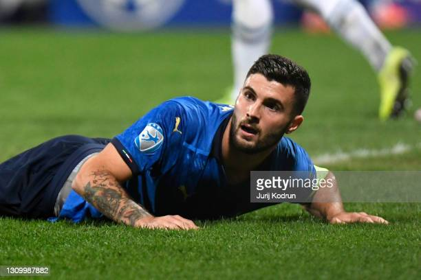 Patrick Cutrone of Italy reacts during the 2021 UEFA European Under-21 Championship Group B match between Italy and Slovenia at Stadion Celje on...