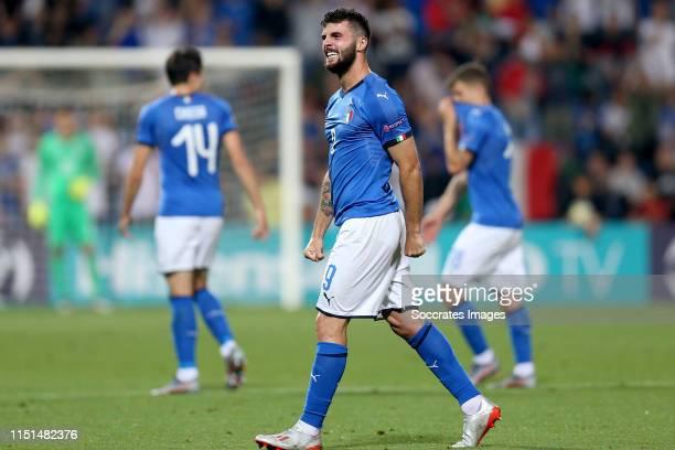 Patrick Cutrone of Italy U21 celebrates 02 during the EURO U21 match between Belgium v Italy at the MAPEI Stadium Città del Tricolore on June 22 2019...