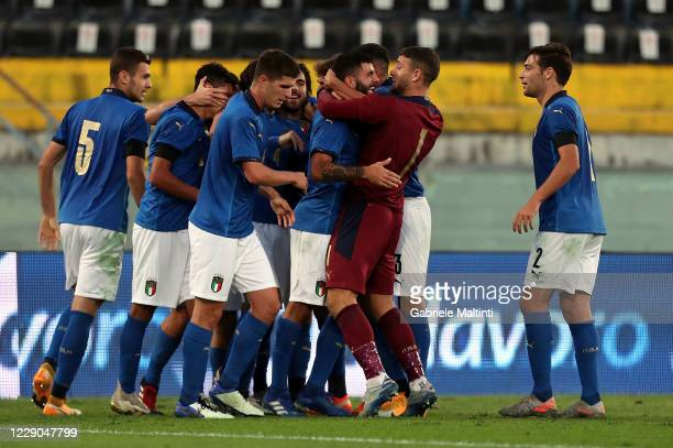 Patrick Cutrone of Italy U21 celebrates after scoring a goal during the UEFA Euro Under 21 Qualifier match between Italy U21 and Ireland U21 at Arena...