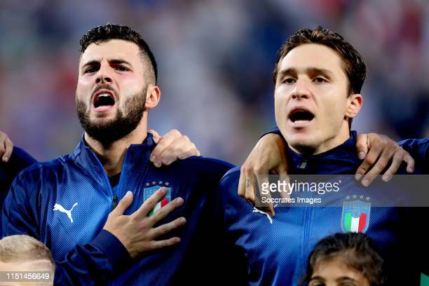 Patrick Cutrone of Italy U21 Federico Chiesa of Italy U21 during the EURO U21 match between Belgium v Italy at the MAPEI Stadium Città del Tricolore...