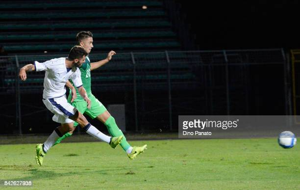 Patrick Cutrone of Italy U21 scores his opening goal during the U21 international friendly match between Italy and Slovenia at Stadio Pier Cesare...