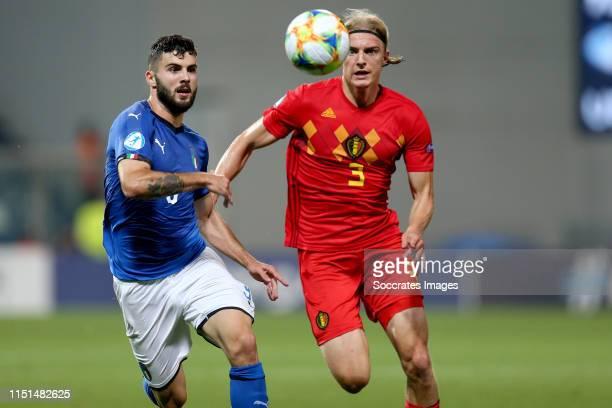 Patrick Cutrone of Italy U21 Sebastiaan Bornauw of Belgium U21 during the EURO U21 match between Belgium v Italy at the MAPEI Stadium Città del...