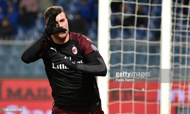 Patrick Cutrone of Milan celebrates after score during the Coppa Italia match between UC Sampdoria and AC Milan at Stadio Luigi Ferraris on January...