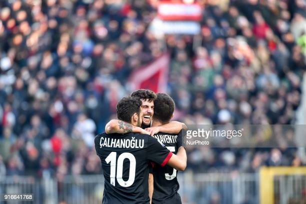 Patrick Cutrone of Milan celebrates scoring second goal during the Serie A match between SPAL and AC Milan at Paolo Mazza Stadium Ferrara Italy on 10...