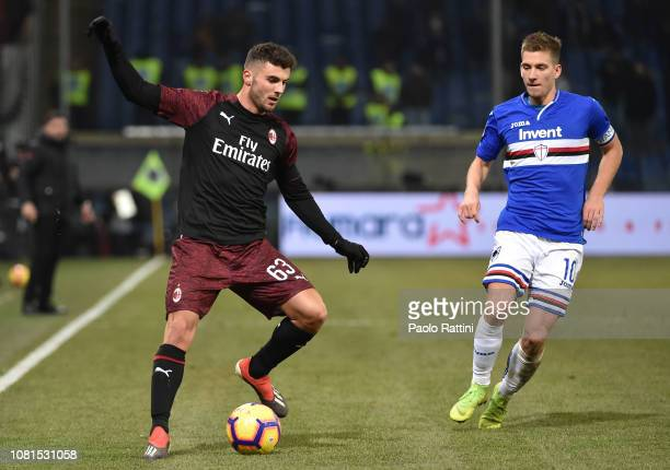 Patrick Cutrone of Milan in action during the Coppa Italia match between UC Sampdoria and AC Milan at Stadio Luigi Ferraris on January 12 2019 in...