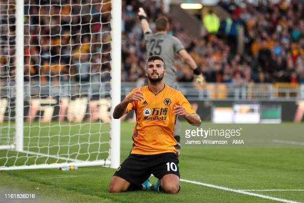 Patrick Cutrone of Wolverhampton Wanderers reacts after a missed chance during the UEFA Europa League Third Qualifying Round Second Leg between...