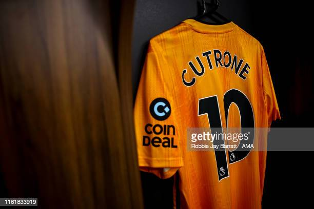 Patrick Cutrone of Wolverhampton Wanderers shirt hangs in the dressing room prior to the UEFA Europa League Third Qualifying Round Second Leg between...
