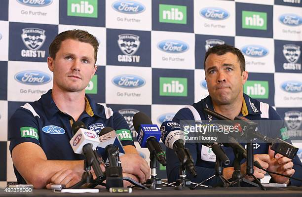 Patrick Dangerfield and Chris Scott the coach of the Cats speak to the media during a Geelong Cats AFL press conference at Simonds Stadium on October...