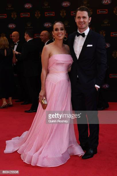 Patrick Dangerfield arrives with wife Mardi Dangerfield ahead of the 2017 Brownlow Medal at Crown Entertainment Complex on September 25 2017 in...
