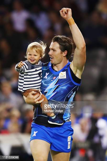 Patrick Dangerfield of the Bolts team enjoys a moment with his son George during the 2019 AFLX at Marvel Stadium on February 22 2019 in Melbourne...