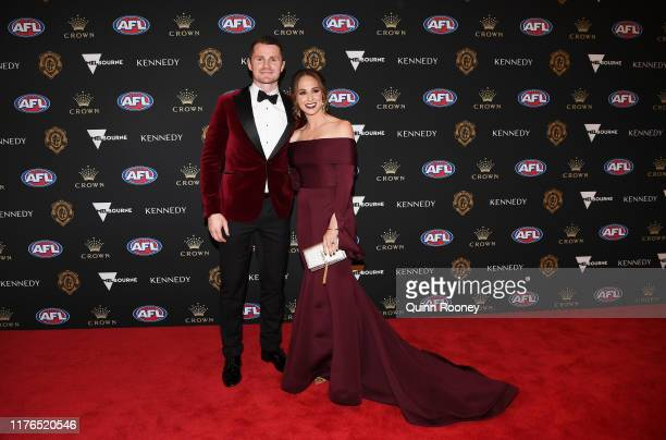 Patrick Dangerfield of the Cats and Mardi Dangerfield arrive ahead of the 2019 Brownlow Medal at Crown Palladium on September 23, 2019 in Melbourne,...