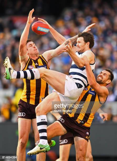 Patrick Dangerfield of the Cats attempts to mark over the top of Luke Hodge of the Hawks during the round 17 AFL match between the Geelong Cats and...