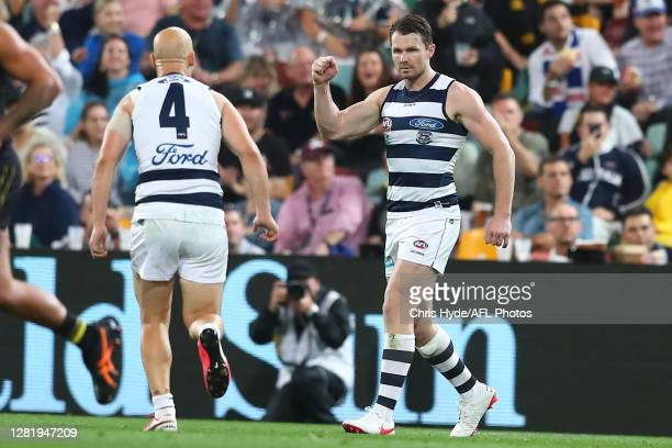 Patrick Dangerfield of the Cats celebrates a goal during the 2020 AFL Grand Final match between the Richmond Tigers and the Geelong Cats at The Gabba...