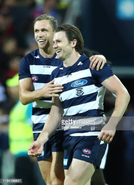 Patrick Dangerfield of the Cats celebrates after kicking a goal with Joel Selwood of the Cats during the 2019 JLT Community Series AFL match between...