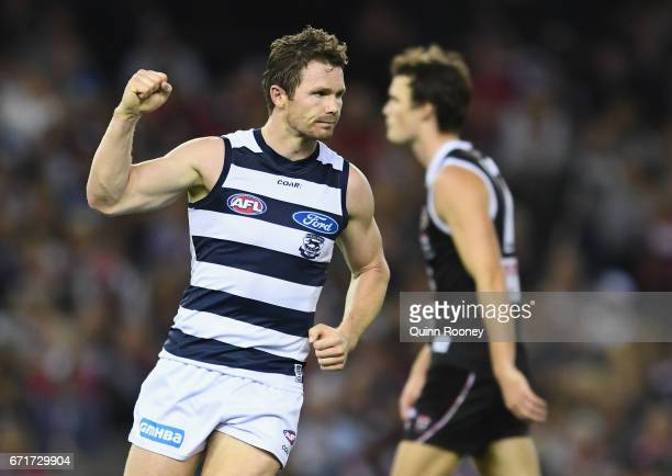 Patrick Dangerfield of the Cats celebrates kicking a goal during the round five AFL match between the St Kilda Saints and the Geelong Cats at Etihad...