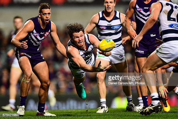 Patrick Dangerfield of the Cats dives in a handball during the 2016 AFL Round 17 match between the Fremantle Dockers and the Geelong Cats at Domain...
