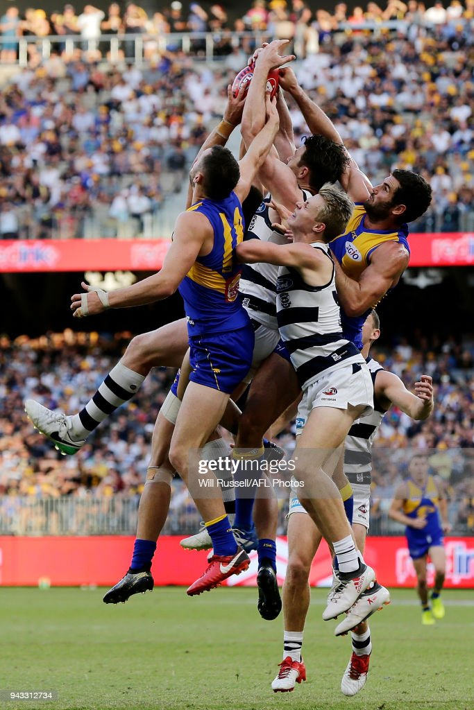 Patrick Dangerfield of the Cats goes for a pack mark during the round three AFL match between the West Coast Eagles and the Geelong Cats at Optus Stadium on April 8, 2018 in Perth, Australia.