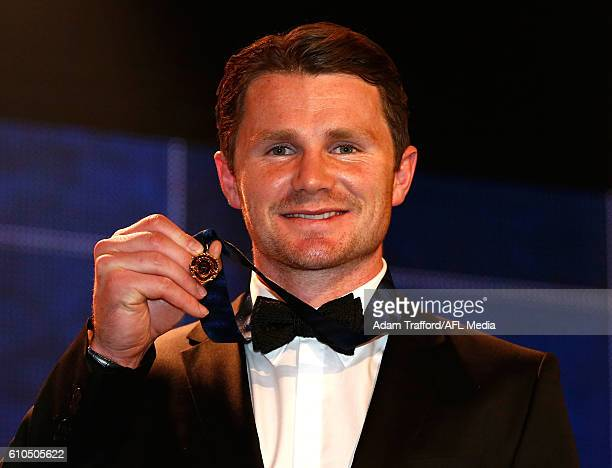 Patrick Dangerfield of the Cats holds the 2016 Brownlow Medal during the 2016 Brownlow Medal Count at the Crown Palladium on September 26 2016 in...