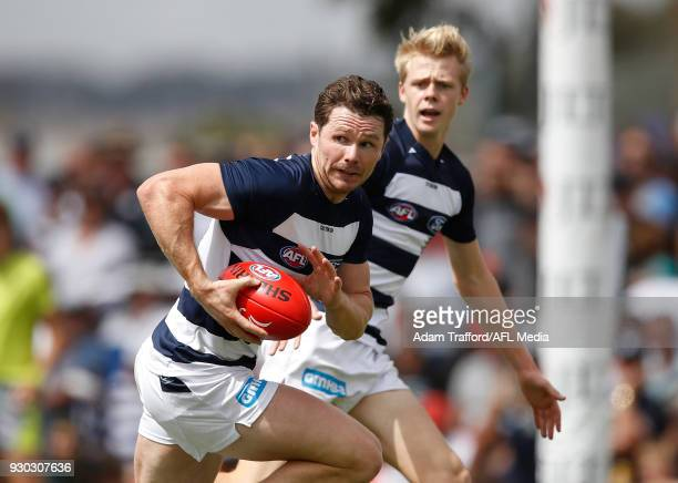 Patrick Dangerfield of the Cats in action during the AFL 2018 JLT Community Series match between the Geelong Cats and the Essendon Bombers at Central...