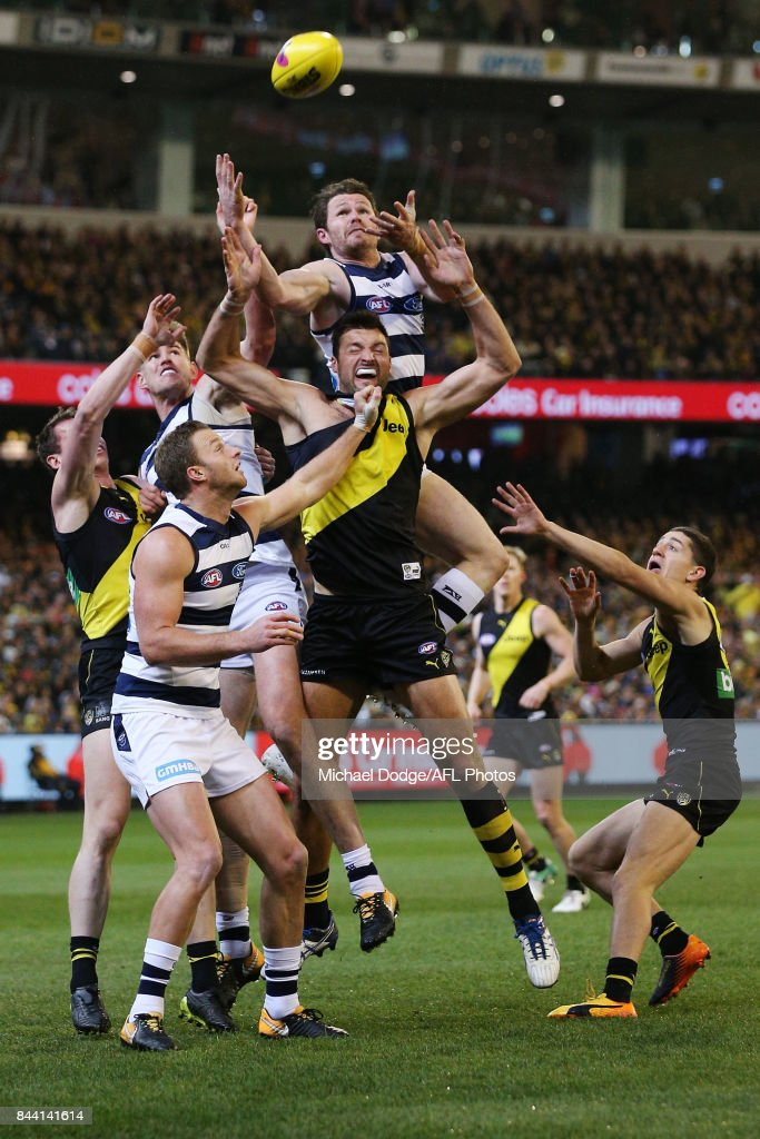Patrick Dangerfield of the Cats leaps for a high mark attempt during the AFL Second Qualifying Final Match between the Geelong Cats and the Richmond Tigers at Melbourne Cricket Ground on September 8, 2017 in Melbourne, Australia.
