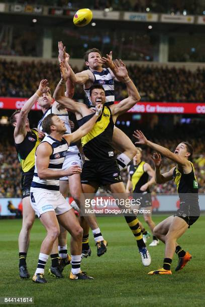 Patrick Dangerfield of the Cats leaps for a high mark attempt during the AFL Second Qualifying Final Match between the Geelong Cats and the Richmond...