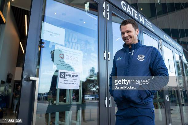 Patrick Dangerfield of the Cats leaves after speaking to media during a Geelong Cats AFL Training Session at GMHBA Stadium on June 11, 2020 in...