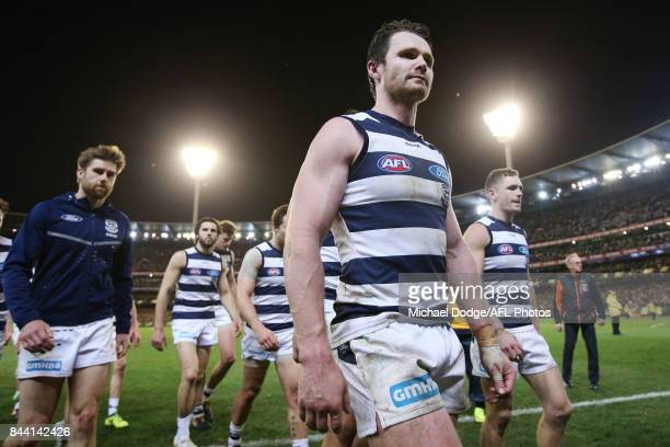 Patrick Dangerfield of the Cats looks dejected after defeat in his 200th match during the AFL Second Qualifying Final Match between the Geelong Cats...