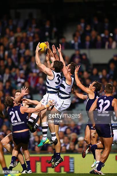 Patrick Dangerfield of the Cats marks the ball during the round 17 AFL match between the Fremantle Dockers and the Geelong Cats at Domain Stadium on...