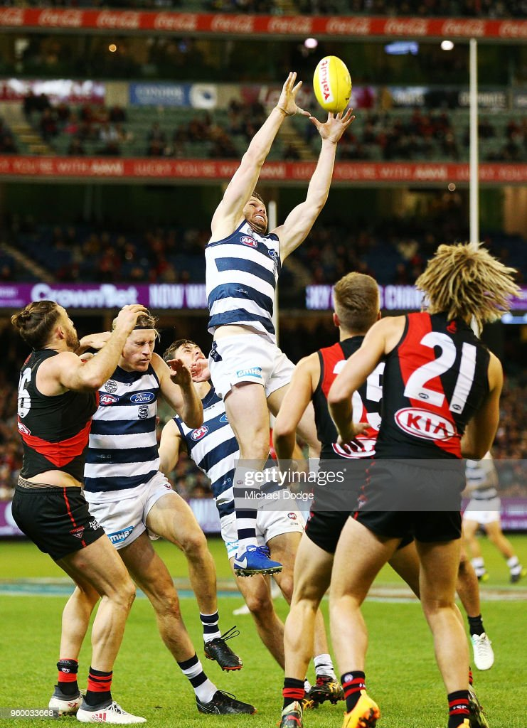 Patrick Dangerfield of the Cats marks the ball during the round nine AFL match between the Essendon Bombers and the Geelong Cats at Melbourne Cricket Ground on May 19, 2018 in Melbourne, Australia.