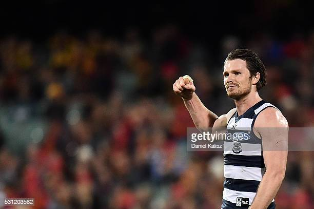 Patrick Dangerfield of the Cats reacts after the final siren during the round eight AFL match between the Adelaide Crows and the Geelong Cats at...